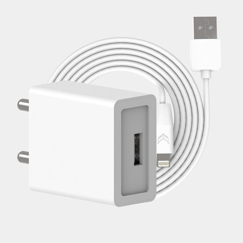 VoxForth's BIS certified white 2A Essential Charger with a single port and a 1metre Lightning cable.