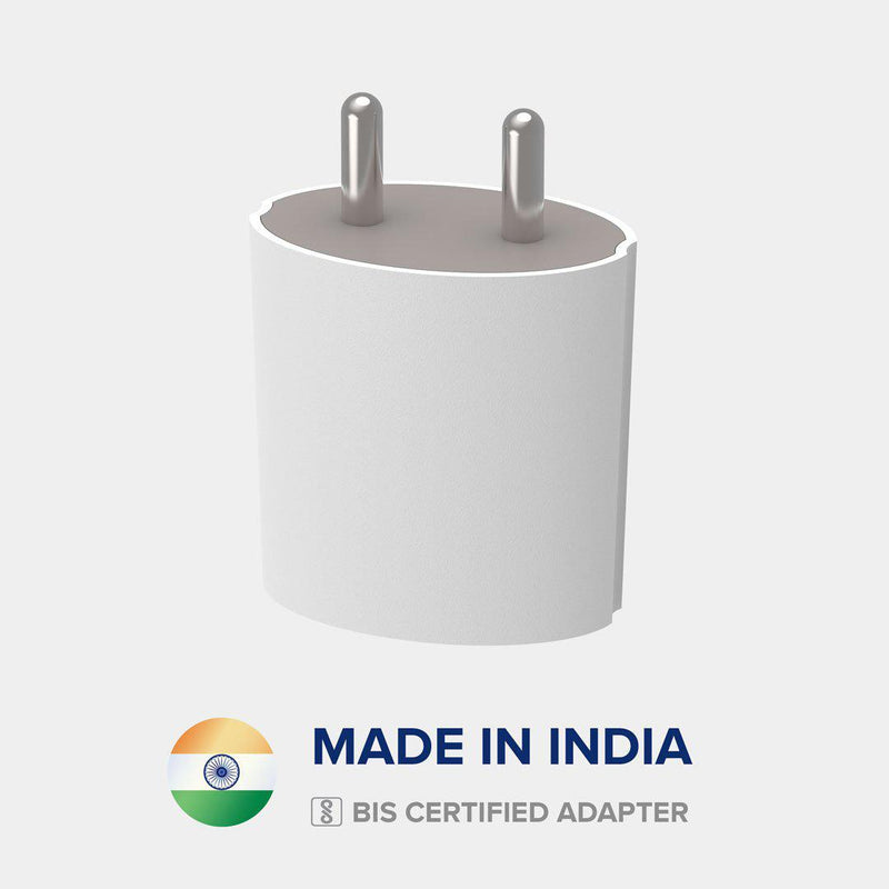 Front view of VoxForth's BIS certified white 2.1A Dual Charger- Oval made in India.