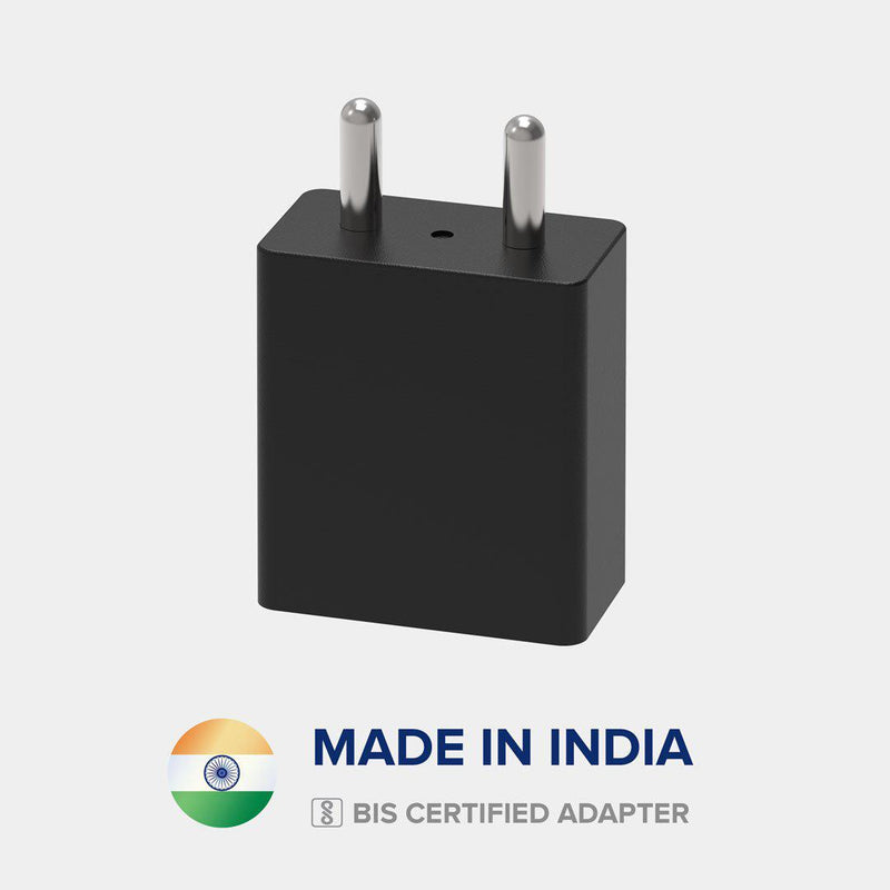 Front view of VoxForth's BIS certified black 2A Essential Charger made in India.