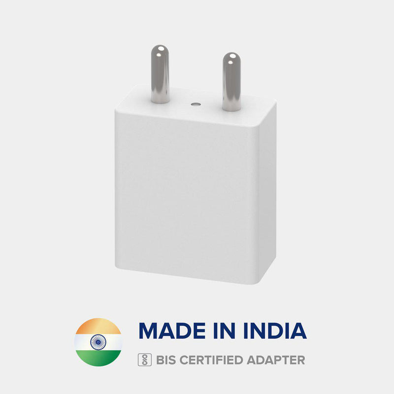 Front view of VoxForth's BIS certified white 2A Essential Charger made in India.