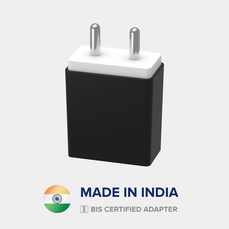 Front view of VoxForth's BIS certified black 3.1A Smart Charger made in India.