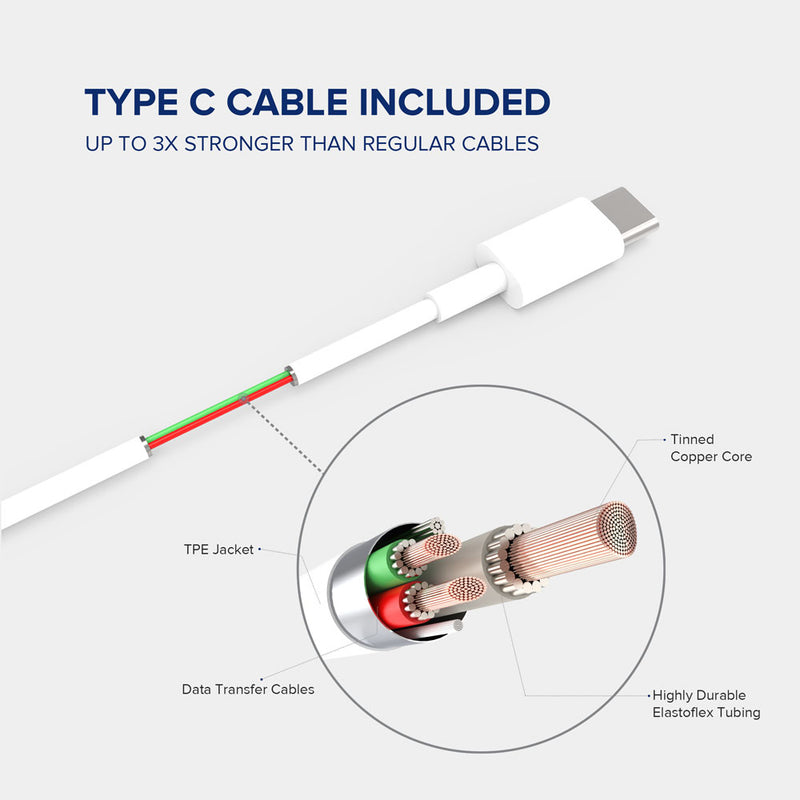 1metre white TypeC cable by VoxForth is included which is 3 times stronger than most standard cables.