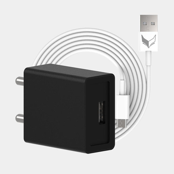 VoxForth's BIS certified black 2A Essential Charger with a single port and a 1metre Micro USB cable.