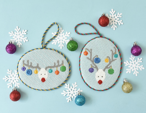 Reindeer Faces needlepoint ornament kit