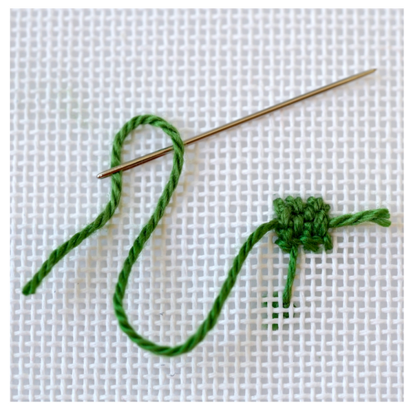 How to Needlepoint, Step 5 - Starting a Another Thread on your Needlepoint Canvas