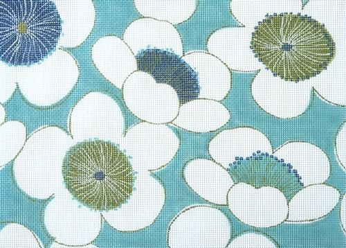 Aqua Flower Burst needlepoint by Unique NZ Designs