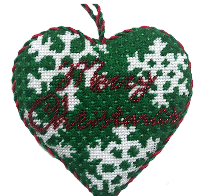 Christmas needlepoint ornament with beads