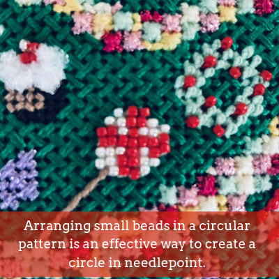 using beads in needlepoint to create circles