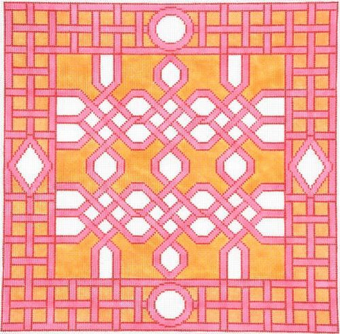 Kate Dickerson Pink Celtic Trellis needlepoint
