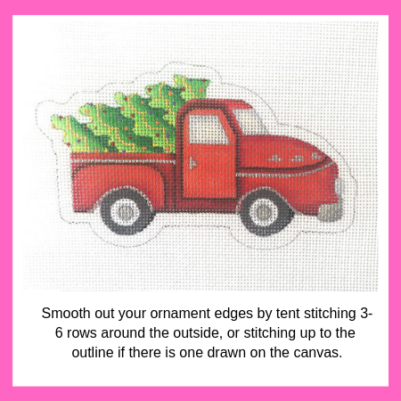 how to stitch a needlepoint ornament for finishing
