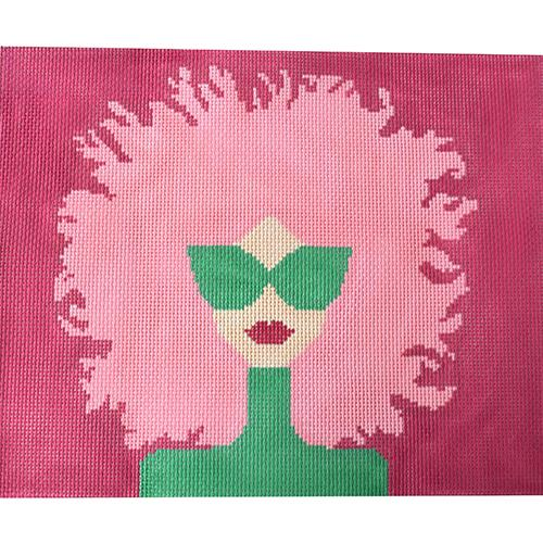 Pink Hair needlepoint by Voila