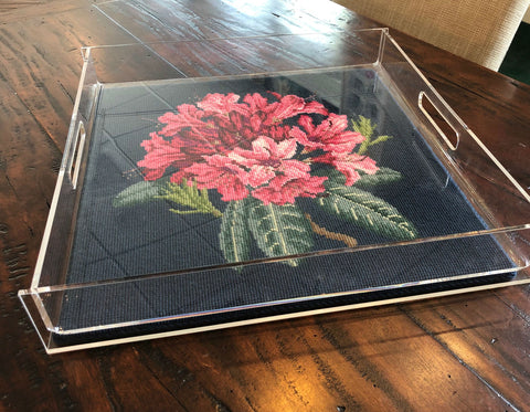 needlepoint tray with Elizabeth Bradley Dahlia kit
