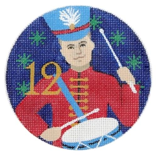 12 Drummers Drumming Painted Canvas Julie Mar Needlepoint Designs