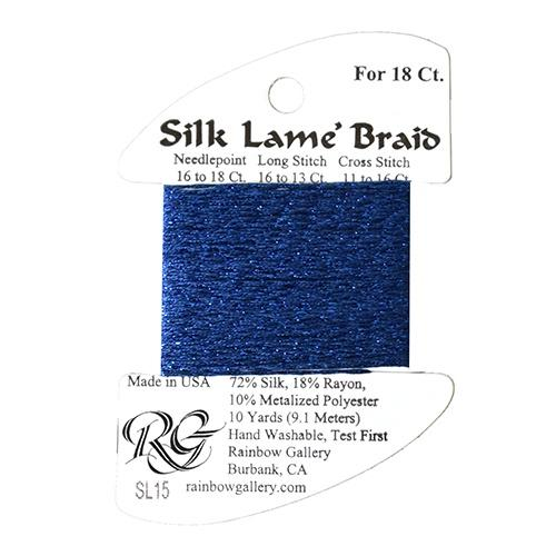#18 Silk Lame Braid - 015 Dark Blue Thread Threads