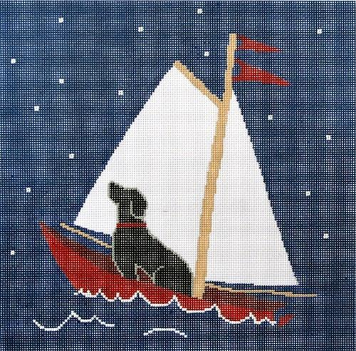 2 North Star - Black Lab Painted Canvas CBK Needlepoint Collections
