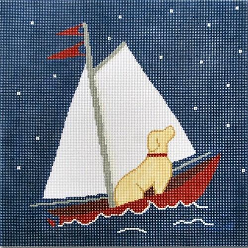 2 North Star - Yellow Lab Painted Canvas CBK Needlepoint Collections