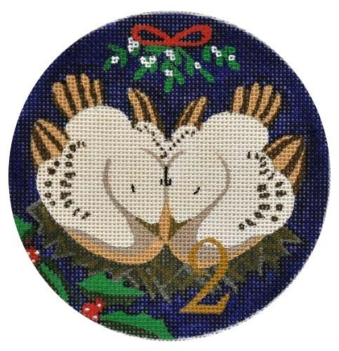 2 Turtle Doves Painted Canvas Julie Mar Needlepoint Designs