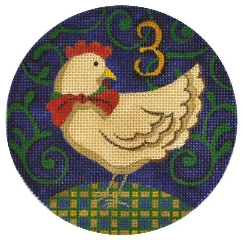 3 French Hens Painted Canvas Julie Mar Needlepoint Designs