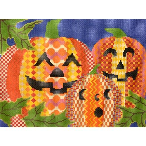 3 Jack O'Lanterns on 18 Painted Canvas Patt and Lee Designs