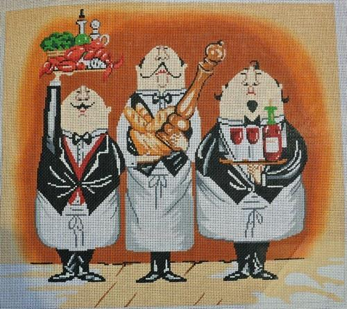 3 Waiters #1 Painted Canvas Lee's Needle Art Inc.
