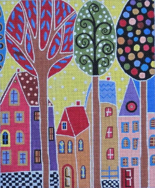 4 Houses & Trees Painted Canvas Maggie Co.
