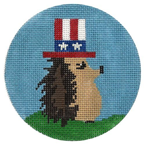 4th of July Hedgehog Ornament Painted Canvas Danji Designs