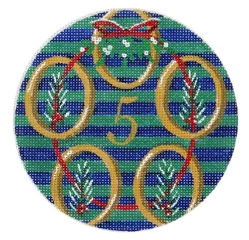 5 Golden Rings Painted Canvas Julie Mar Needlepoint Designs