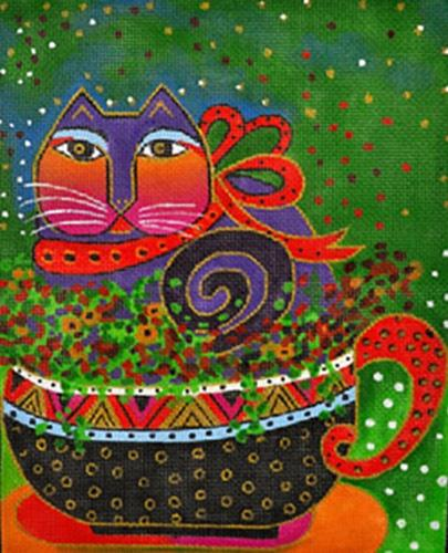 A Cup of Good Cheer Painted Canvas Laurel Burch