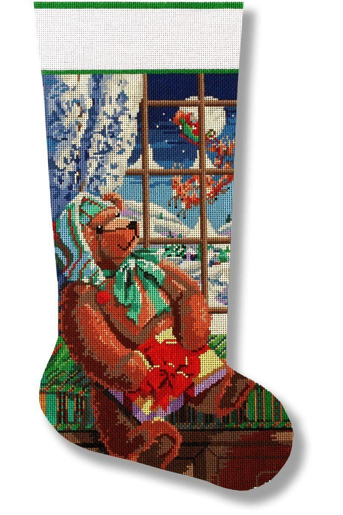 A Gift For Santa Stocking Painted Canvas CBK Needlepoint Collections