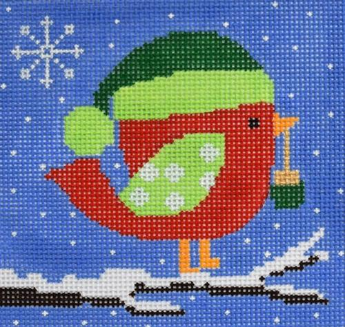 A Present from Red Bird Painted Canvas CBK Needlepoint Collections