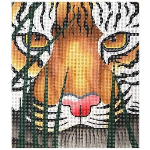 A Tiger Awaits Painted Canvas Lee's Needle Art Inc.