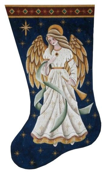 Adoring Angel Stocking on 13 Painted Canvas Rebecca Wood Designs