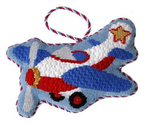 Airplane Ornament with Stitch Guide Painted Canvas Needlepoint.Com