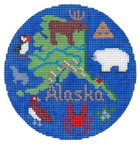 Alaska Ornament Painted Canvas Silver Needle