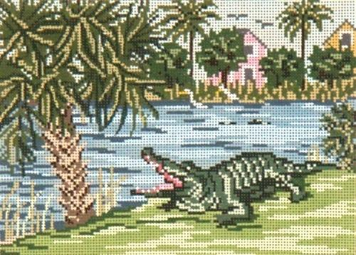 Alligator Alley on 18 Painted Canvas Needle Crossings
