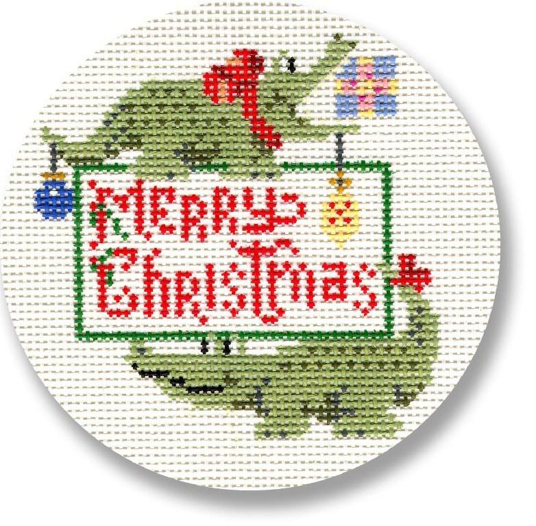 Alligator Merry Christmas Painted Canvas CBK Needlepoint Collections