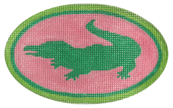 Alligator Oval Painted Canvas Kate Dickerson Needlepoint Collections