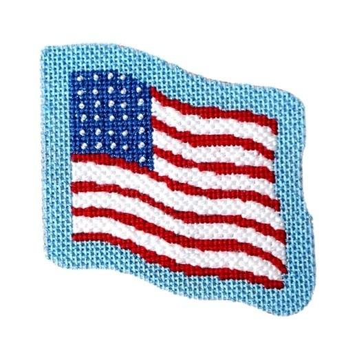 Americana - US Flag with Stitch Guide Painted Canvas Needlepoint.Com