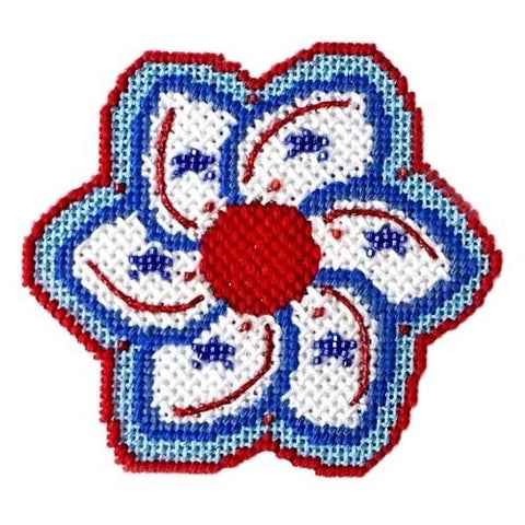 Americana - White Pinwheel with Stitch Guide Painted Canvas Needlepoint.Com