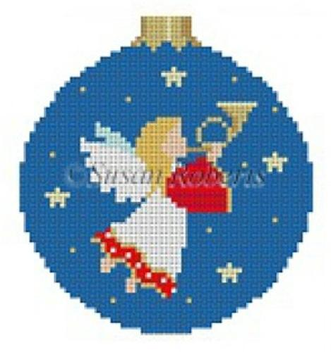 Angel with Horn Painted Canvas Susan Roberts Needlepoint Designs, Inc.