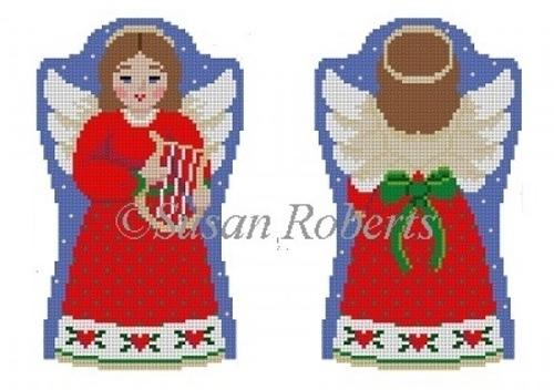 Angel with Lyre, 2 Sided Painted Canvas Susan Roberts Needlepoint Designs, Inc.