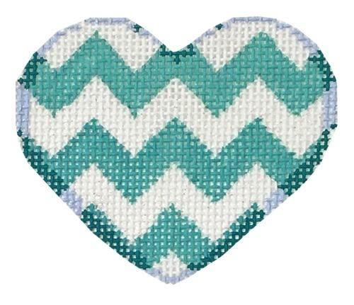 Aqua Chevron Mini Heart Painted Canvas Associated Talents