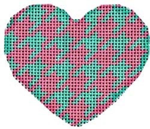 Aqua / Pink Houndstooth Mini Heart Painted Canvas Associated Talents