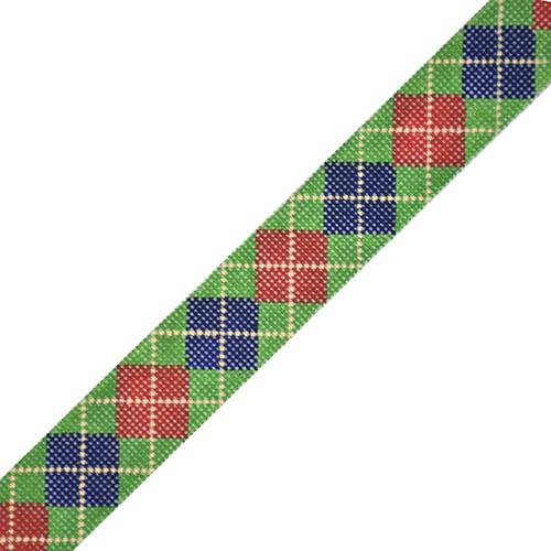 Argyle Belt - Navy/Red/Khaki on Green on 18 Painted Canvas The Meredith Collection