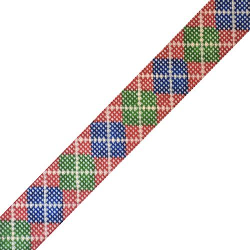 Argyle Belt - Red Background with Navy/Green/Khaki on 14 Painted Canvas The Meredith Collection