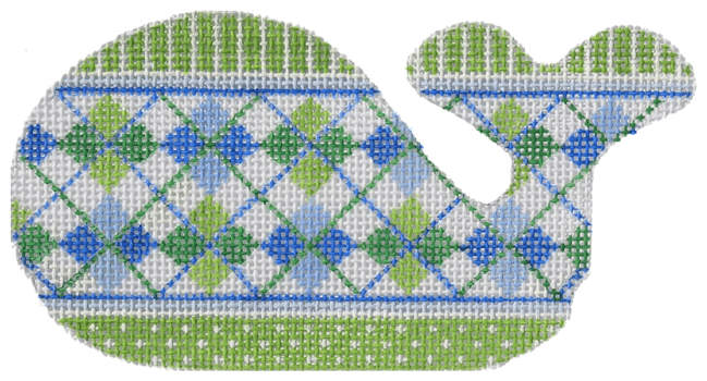 Argyle Mini Whale - bright blues / greens Painted Canvas Kate Dickerson Needlepoint Collections
