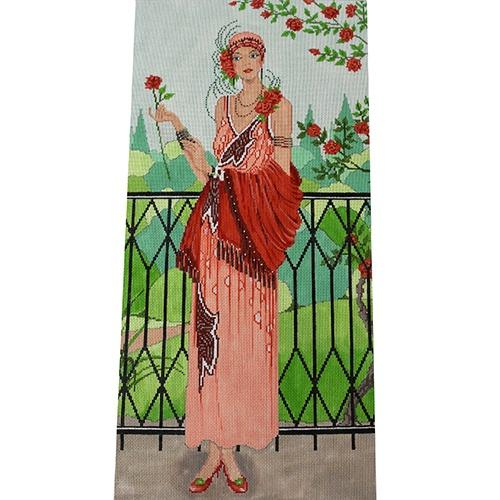 Art Deco Rose Garden Painted Canvas The Meredith Collection