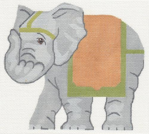 Asian Elephant Painted Canvas Labors of Love Needlepoint
