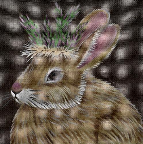 Asparagus Bunny Painted Canvas Vicky Sawyer