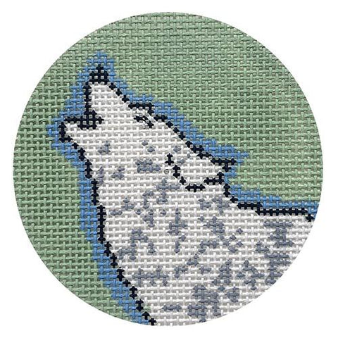 Atticus the Wolf on 13 mesh Painted Canvas Thorn Alexander
